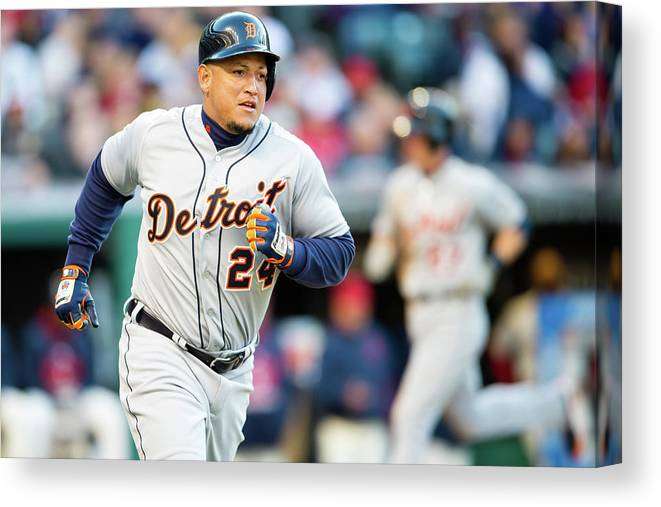 American League Baseball Canvas Print featuring the photograph Miguel Cabrera by Jason Miller