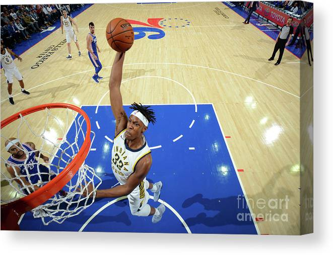 Nba Pro Basketball Canvas Print featuring the photograph Myles Turner by Jesse D. Garrabrant