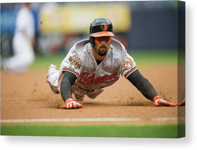 American League Baseball Canvas Print featuring the photograph Nick Markakis by Rob Tringali