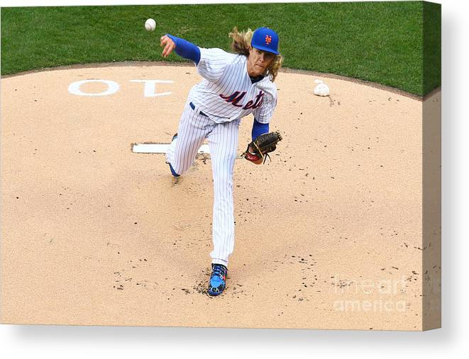 People Canvas Print featuring the photograph Noah Syndergaard by Mike Stobe