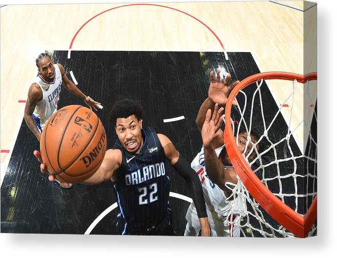 Nba Pro Basketball Canvas Print featuring the photograph Orlando Magic v Los Angeles Clippers by Andrew D. Bernstein