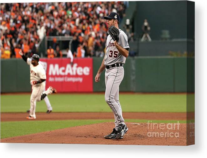 San Francisco Canvas Print featuring the photograph Pablo Sandoval and Justin Verlander by Ezra Shaw