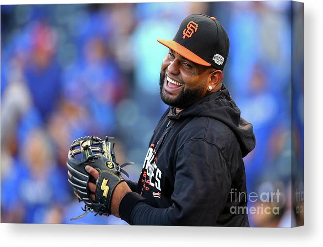 Game Two Canvas Print featuring the photograph Pablo Sandoval by Dilip Vishwanat