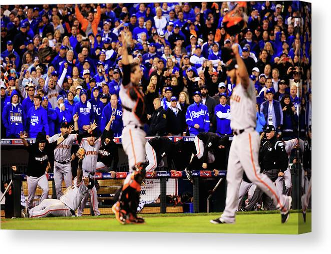 People Canvas Print featuring the photograph Pablo Sandoval, Madison Bumgarner, and Buster Posey by Jamie Squire