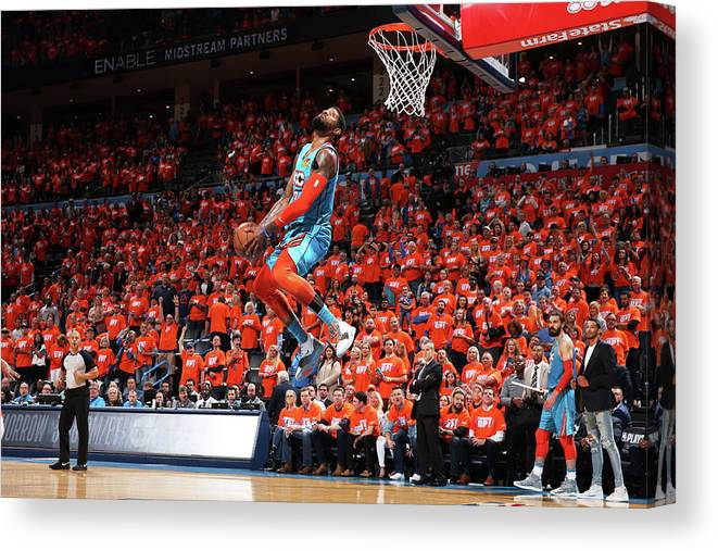 Playoffs Canvas Print featuring the photograph Paul George by Zach Beeker