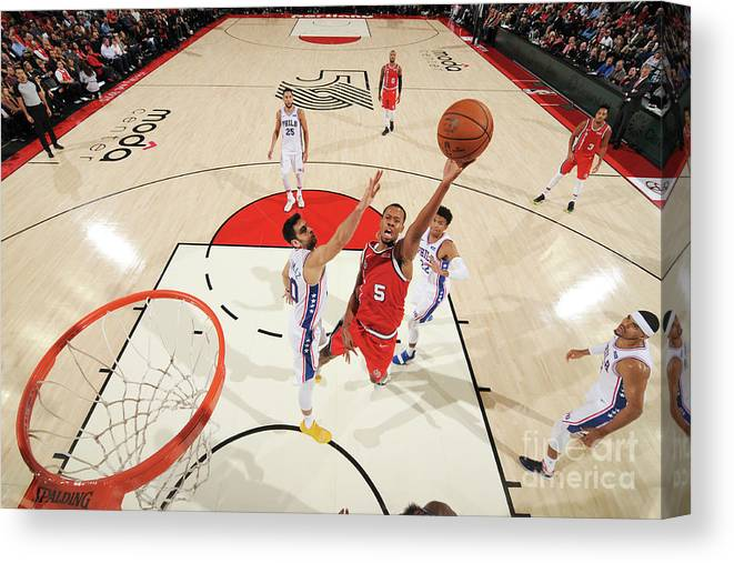 Nba Pro Basketball Canvas Print featuring the photograph Rodney Hood by Cameron Browne