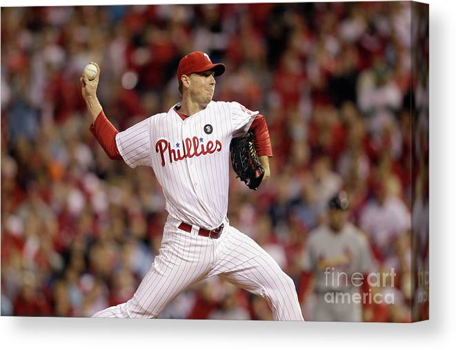 Citizens Bank Park Canvas Print featuring the photograph Roy Halladay by Rob Carr