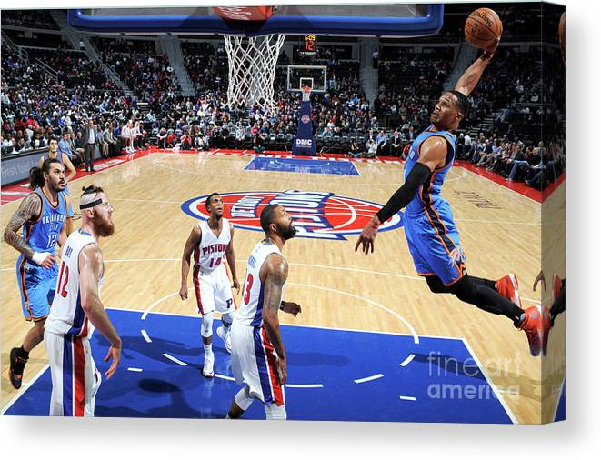 Nba Pro Basketball Canvas Print featuring the photograph Russell Westbrook by Chris Schwegler