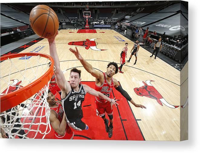 Nba Pro Basketball Canvas Print featuring the photograph San Antonio Spurs vs. Chicago Bulls by Jeff Haynes
