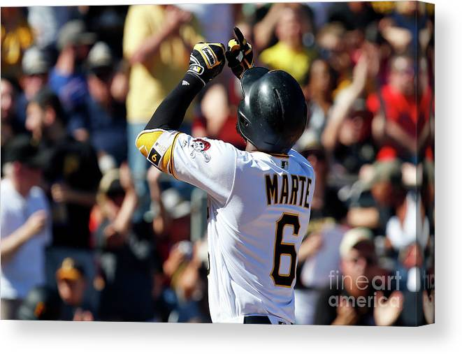People Canvas Print featuring the photograph Starling Marte by Justin K. Aller