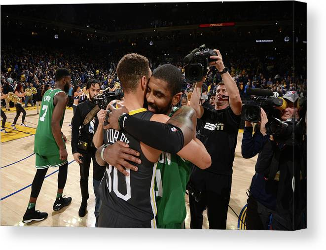 Nba Pro Basketball Canvas Print featuring the photograph Stephen Curry and Kyrie Irving by Noah Graham