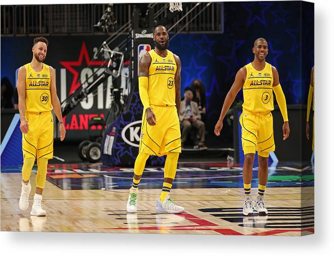 Atlanta Canvas Print featuring the photograph Stephen Curry, Chris Paul, and Lebron James by Joe Murphy