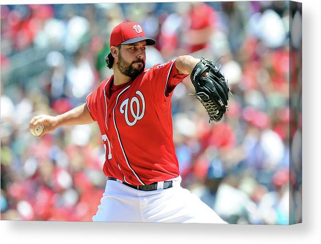 American League Baseball Canvas Print featuring the photograph Tanner Roark by Greg Fiume