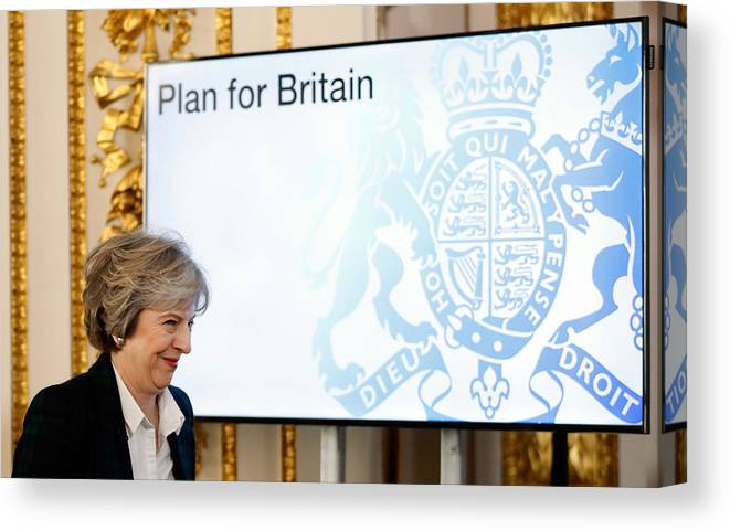 Theresa May Canvas Print featuring the photograph The British Prime Minister Delivers Her Brexit Speech by WPA Pool