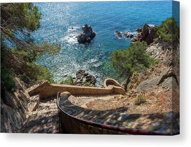 Camins Canvas Print featuring the photograph The Cami De Ronda By Lloret De Mar, Girona by Vicen Photography