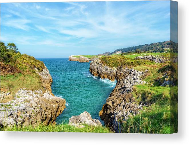 Color Canvas Print featuring the photograph The Cantabrian Coast By Llanes, Asturias In Spain by Vicen Photography
