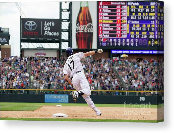 2nd Base Canvas Print featuring the photograph Todd Helton by Dustin Bradford