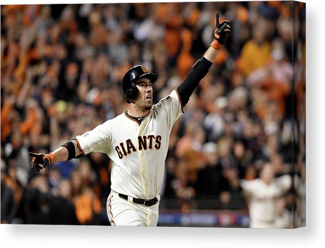 Playoffs Canvas Print featuring the photograph Travis Ishikawa by Thearon W. Henderson