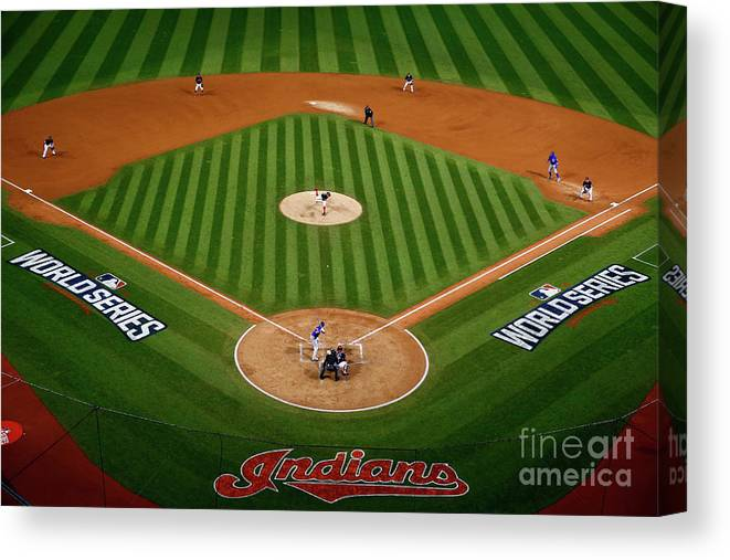 Game Two Canvas Print featuring the photograph Trevor Bauer by Jamie Squire