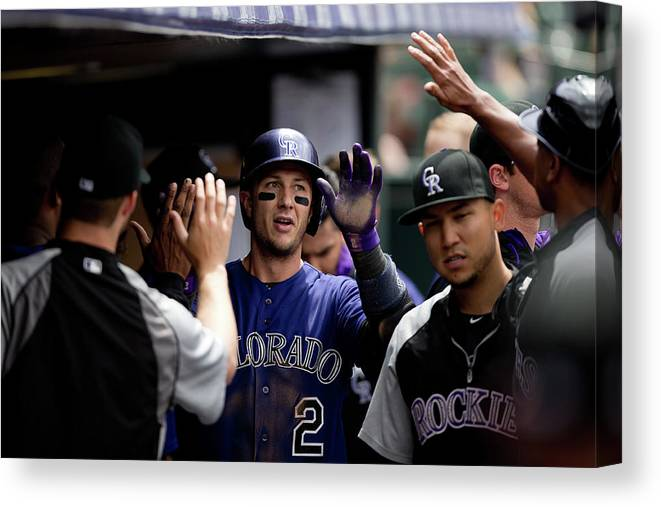 Second Inning Canvas Print featuring the photograph Troy Tulowitzki by Justin Edmonds