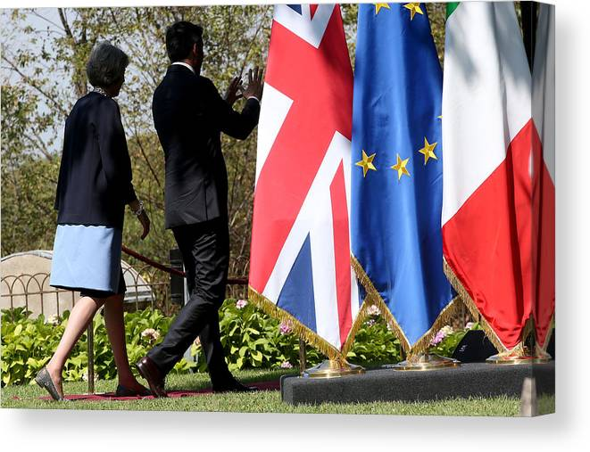 Theresa May Canvas Print featuring the photograph UK PM Teresa May Holds Talks With Italian PM Matteo Renzi by Franco Origlia