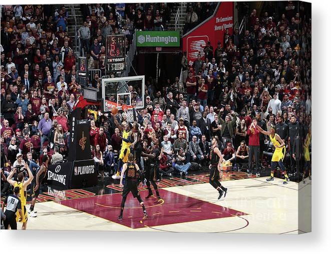 Playoffs Canvas Print featuring the photograph Victor Oladipo and Lebron James by Nathaniel S. Butler