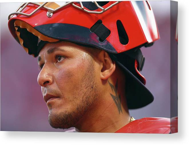 Great American Ball Park Canvas Print featuring the photograph Yadier Molina by Andy Lyons