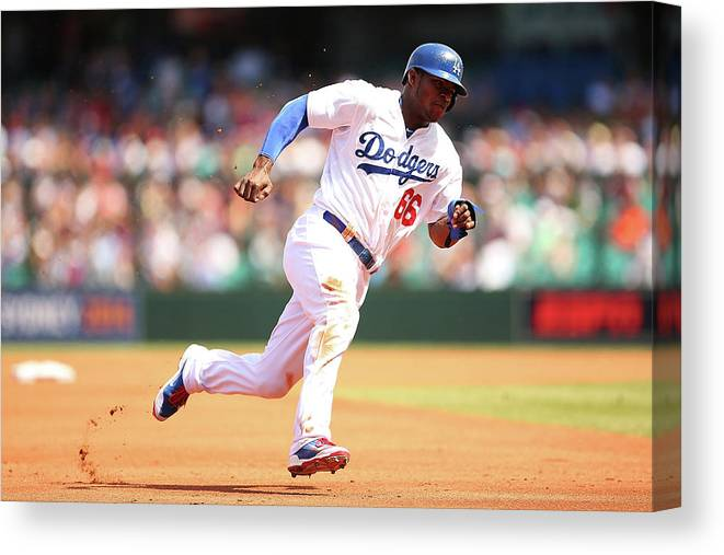 Los Angeles Dodgers Canvas Print featuring the photograph Yasiel Puig by Brendon Thorne
