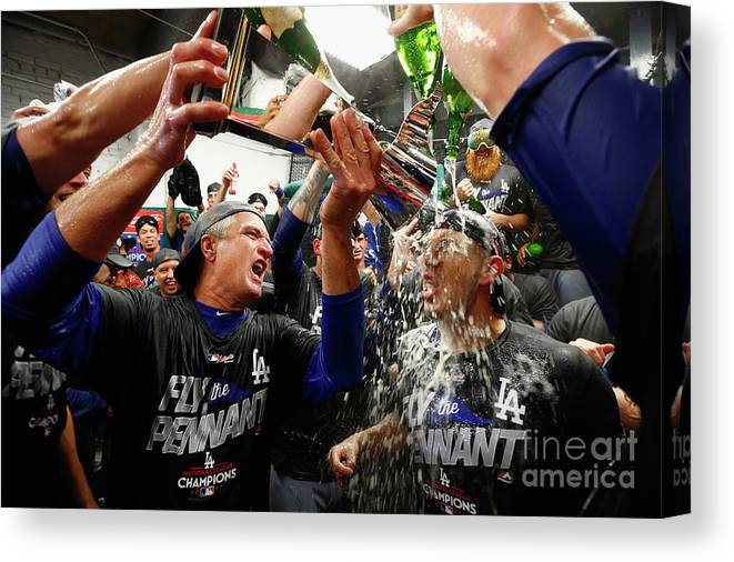 Championship Canvas Print featuring the photograph Yasmani Grandal by Jamie Squire