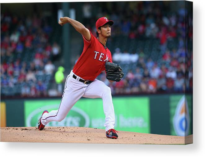 American League Baseball Canvas Print featuring the photograph Yu Darvish by Ronald Martinez