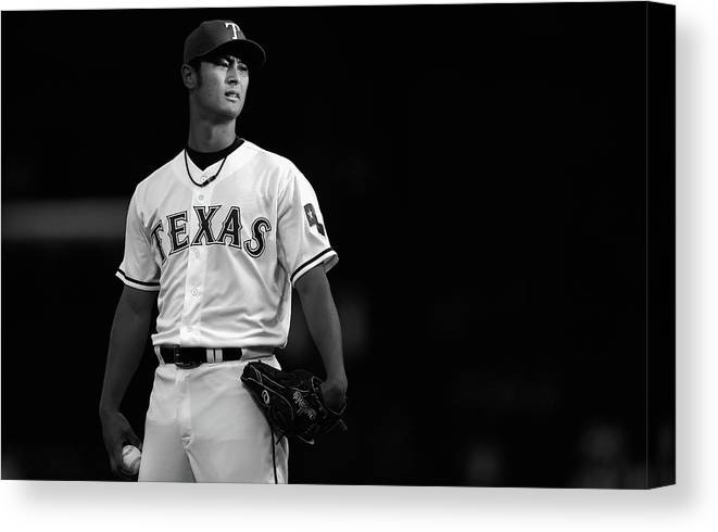 American League Baseball Canvas Print featuring the photograph Yu Darvish by Tom Pennington