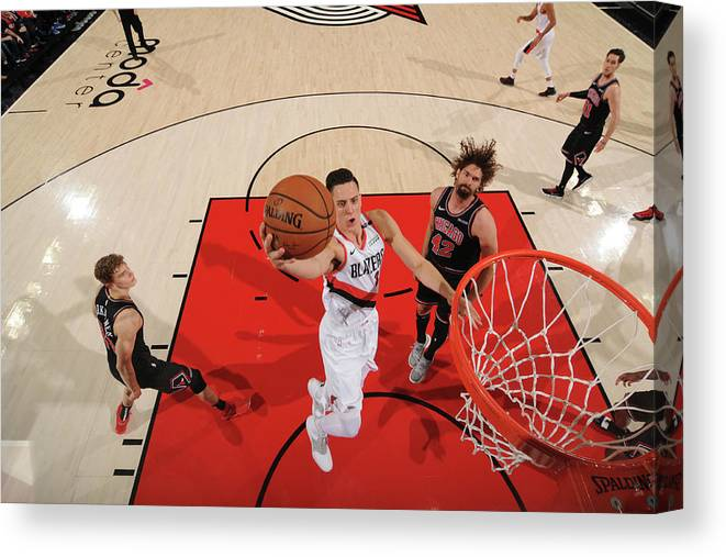 Nba Pro Basketball Canvas Print featuring the photograph Zach Collins by Cameron Browne