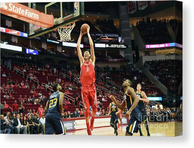Nba Pro Basketball Canvas Print featuring the photograph Zhou Qi by Bill Baptist