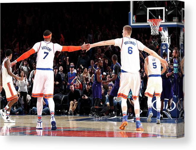Nba Pro Basketball Canvas Print featuring the photograph Carmelo Anthony by Nathaniel S. Butler