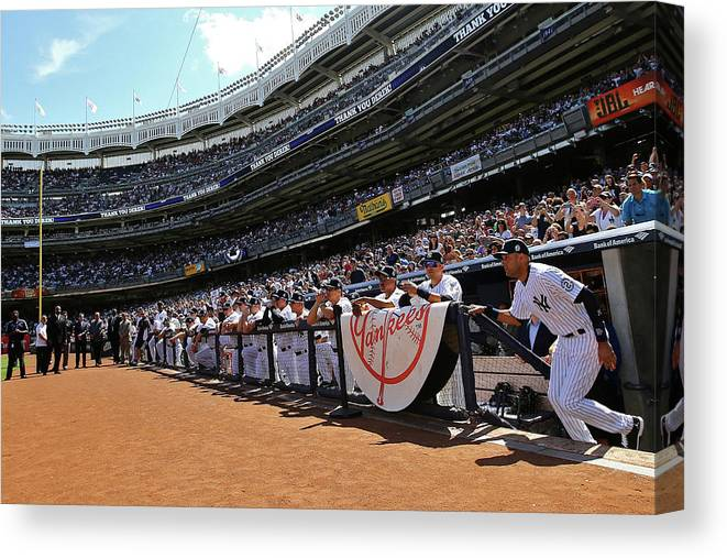 American League Baseball Canvas Print featuring the photograph Derek Jeter by Al Bello