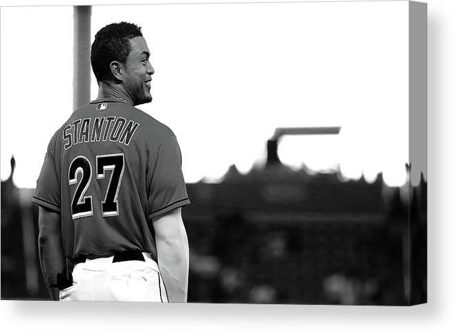 American League Baseball Canvas Print featuring the photograph Giancarlo Stanton by Mike Ehrmann