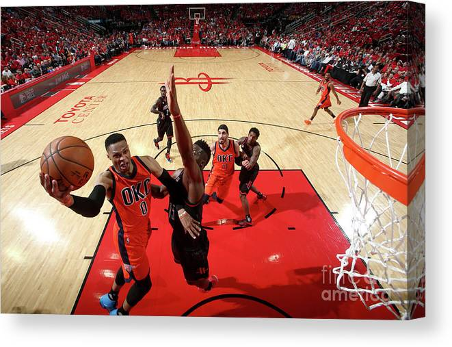 Playoffs Canvas Print featuring the photograph Russell Westbrook by Nathaniel S. Butler
