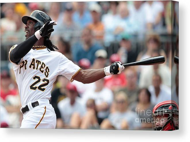 Pnc Park Canvas Print featuring the photograph Andrew Mccutchen by Jared Wickerham