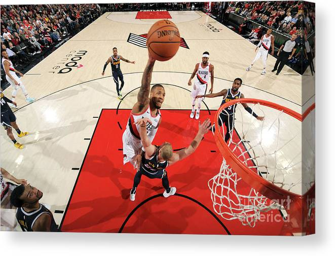 Nba Pro Basketball Canvas Print featuring the photograph Damian Lillard by Cameron Browne
