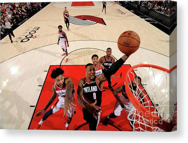 Nba Pro Basketball Canvas Print featuring the photograph Damian Lillard by Cameron Browne