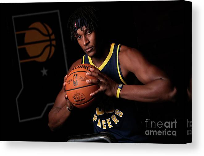 Media Day Canvas Print featuring the photograph Myles Turner by Ron Hoskins