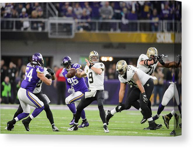 Playoffs Canvas Print featuring the photograph Divisional Round - New Orleans Saints v Minnesota Vikings by Hannah Foslien