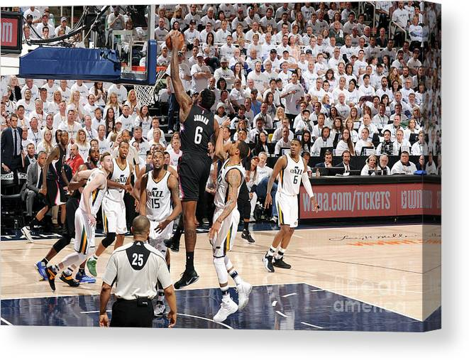 Playoffs Canvas Print featuring the photograph Deandre Jordan by Andrew D. Bernstein