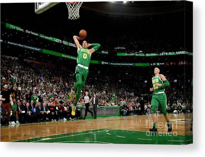 Nba Pro Basketball Canvas Print featuring the photograph Jayson Tatum by Brian Babineau