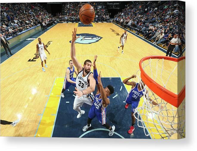 Nba Pro Basketball Canvas Print featuring the photograph Marc Gasol by Joe Murphy