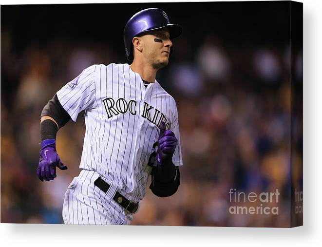 National League Baseball Canvas Print featuring the photograph Troy Tulowitzki by Doug Pensinger