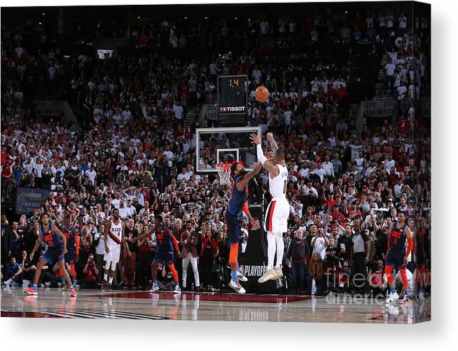 Playoffs Canvas Print featuring the photograph Damian Lillard by Sam Forencich