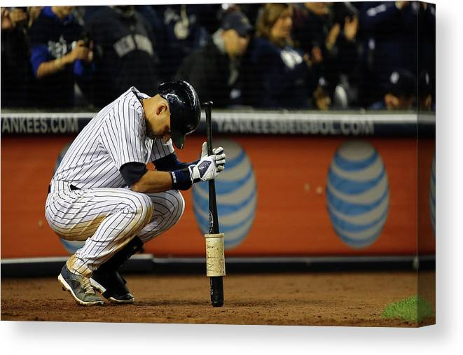 Derek Jeter Canvas Print featuring the photograph Derek Jeter by Al Bello