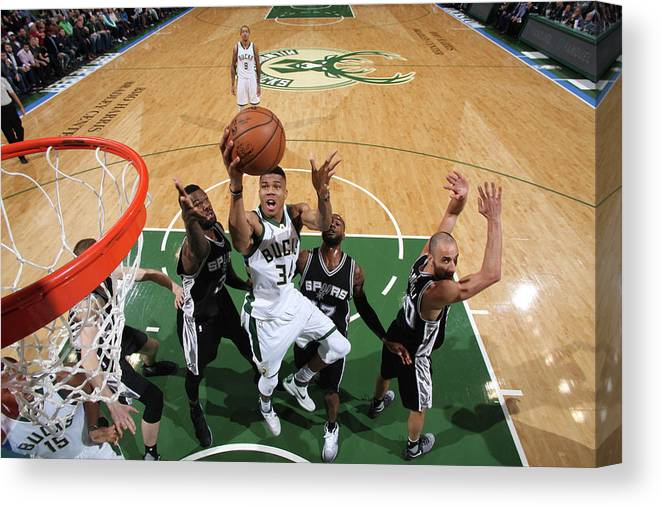Nba Pro Basketball Canvas Print featuring the photograph Giannis Antetokounmpo by Gary Dineen
