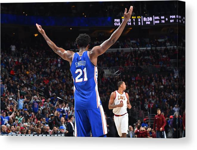 Crowd Canvas Print featuring the photograph Joel Embiid by Jesse D. Garrabrant